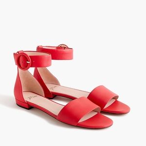 New JCREW Red Ankle Strap Flat Sandals in Leather